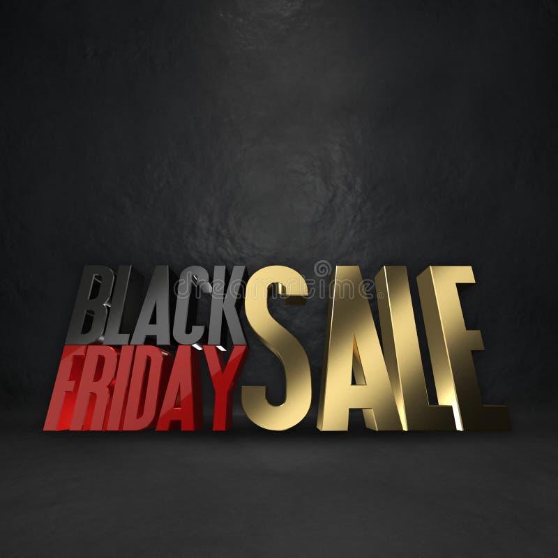 Черная предпосылка перевода продажи 3d пятницы иллюстрация штока