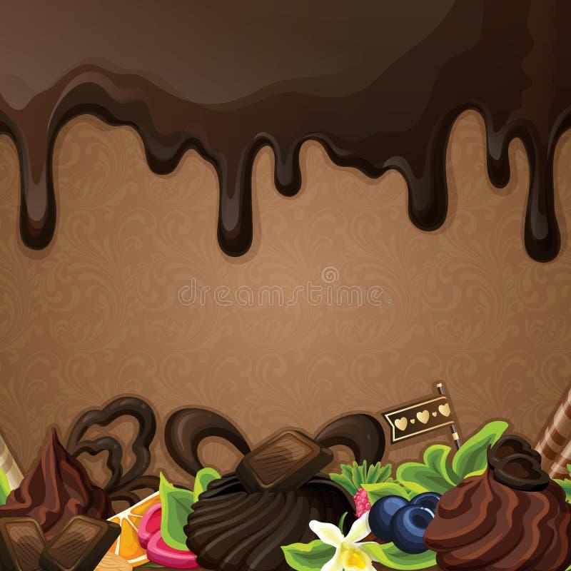 Черная предпосылка помадок шоколада иллюстрация вектора
