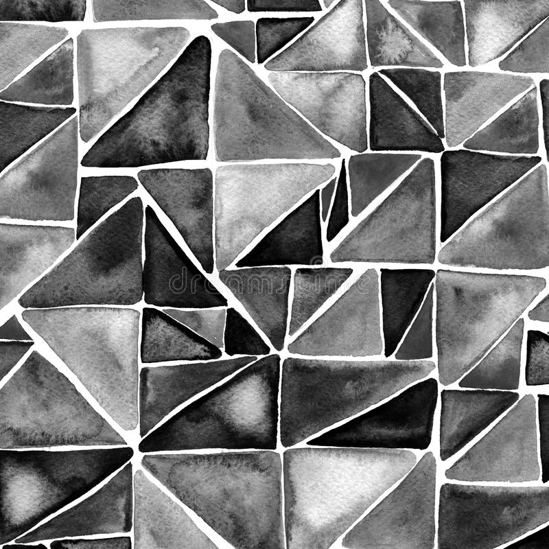 Черная предпосылка треугольников акварели Современная текстура геометрии иллюстрация вектора