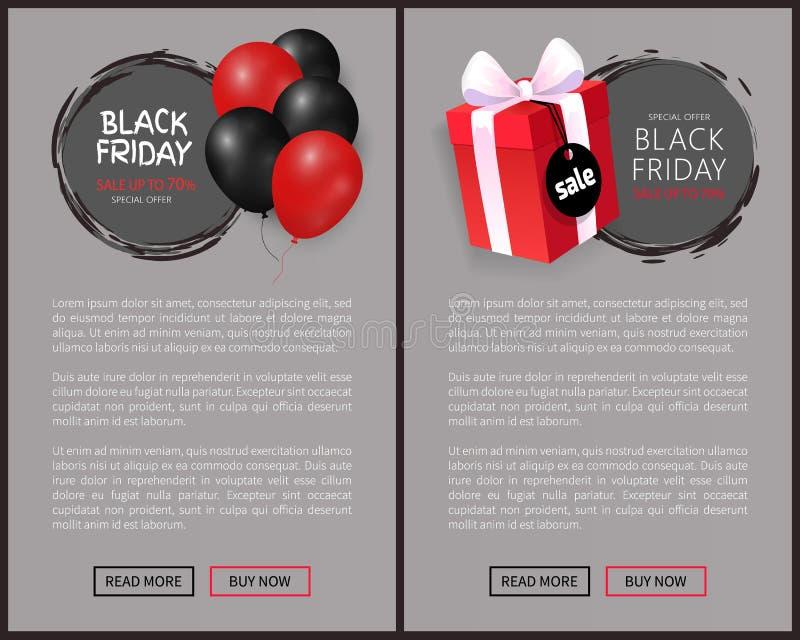 Черная продажа пятницы, пук воздушных шаров, подарочная коробка бесплатная иллюстрация
