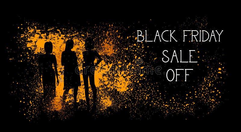 Черная продажа пятницы с знамени с силуэтами людей на дизайне плаката покупок предпосылки хода Grunge иллюстрация штока