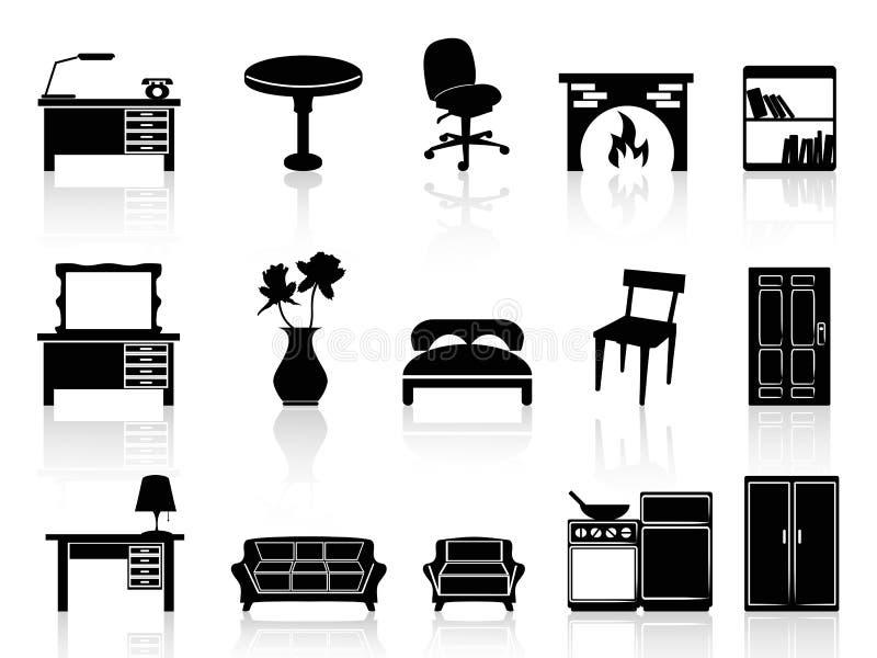 Черная простая икона мебели бесплатная иллюстрация