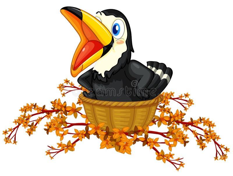 Черная птица внутри корзины иллюстрация вектора