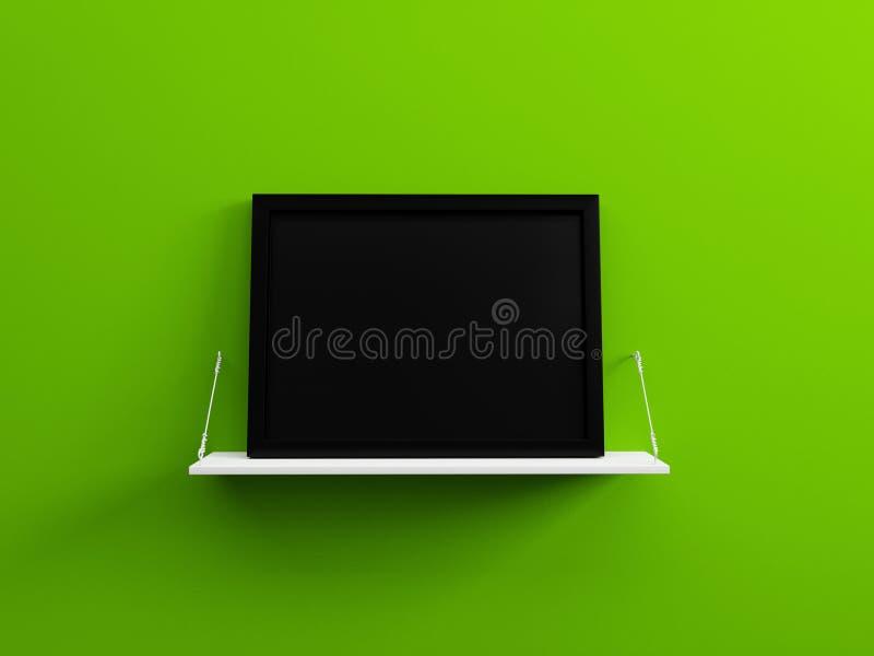 Черная пустая картинная рамка на белой стене 3d зеленого цвета полки представляет стоковые фото