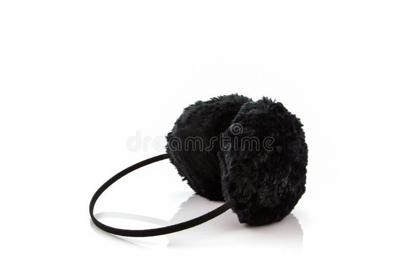 Черная пушистая халява уха зимы стоковые изображения rf
