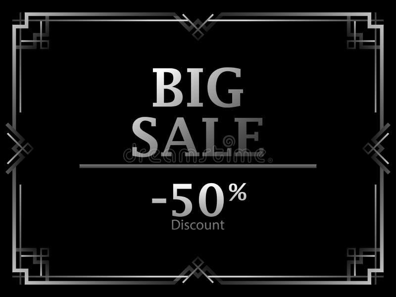 черная пятница Большая скидка продажи 50 процентов рамка стиля Арт Деко Цвет винтажной линейной границы серебряный бесплатная иллюстрация