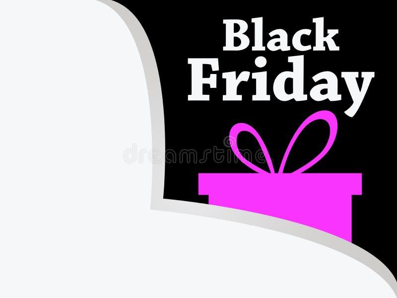 черная пятница Бумажный угол Значок подарочной коробки Большие скидки и продажи вектор иллюстрация вектора