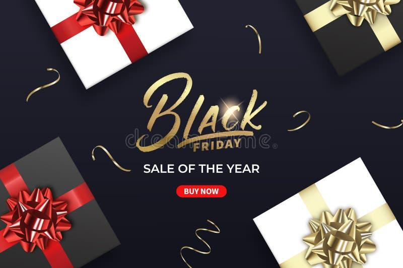 черная пятница Знамя для сезонной черной продажи пятницы Подарки и confetti золота иллюстрация штока