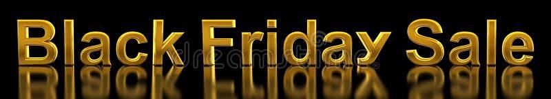Черная пятница Продажа текст в золотом на черном с отражением иллюстрация штока