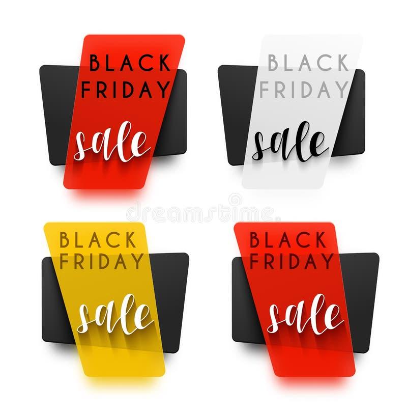 черная пятница Реалистический стикер в 3D Продажа вектора бесплатная иллюстрация