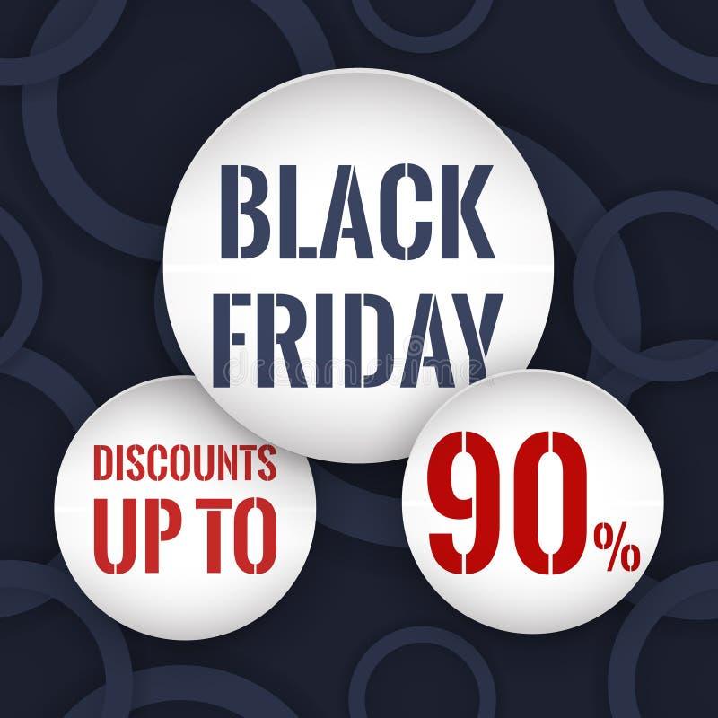 черная пятница Скидки до 90% Объезжайте бумажные знамена на абстрактной синей предпосылке с кольцами бесплатная иллюстрация