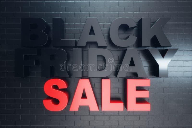 Черная пятница, сообщение для магазина, большая скидка продажи Черное знамя пятницы на кирпичной стене Знамя для черных продаж пя бесплатная иллюстрация