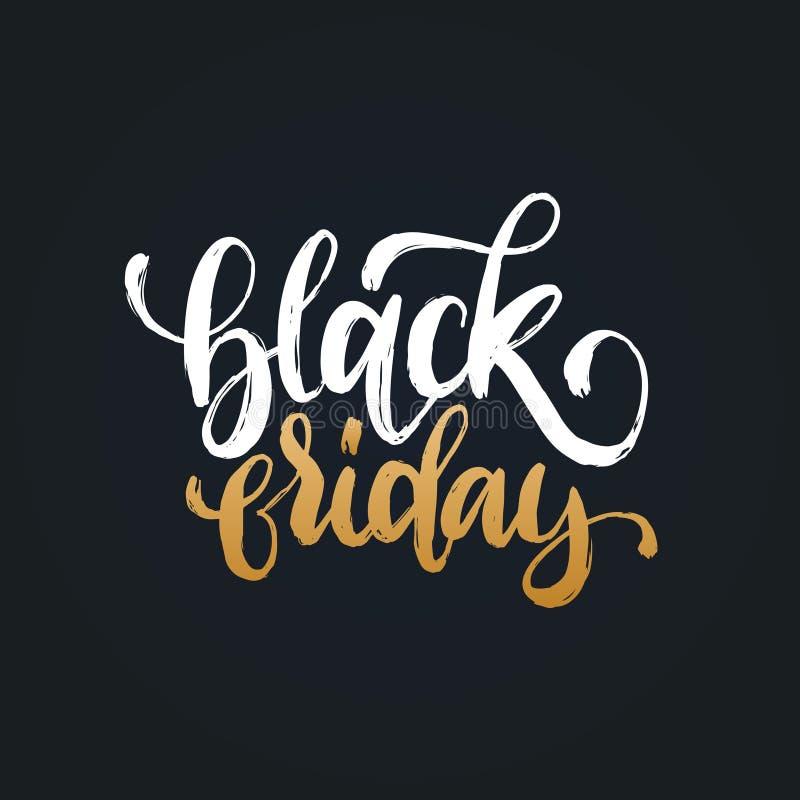 Черная пятница, vector рукописная фраза Каллиграфия для продаж плаката, карточки скидки Иллюстрация литерности для ярлыка иллюстрация вектора