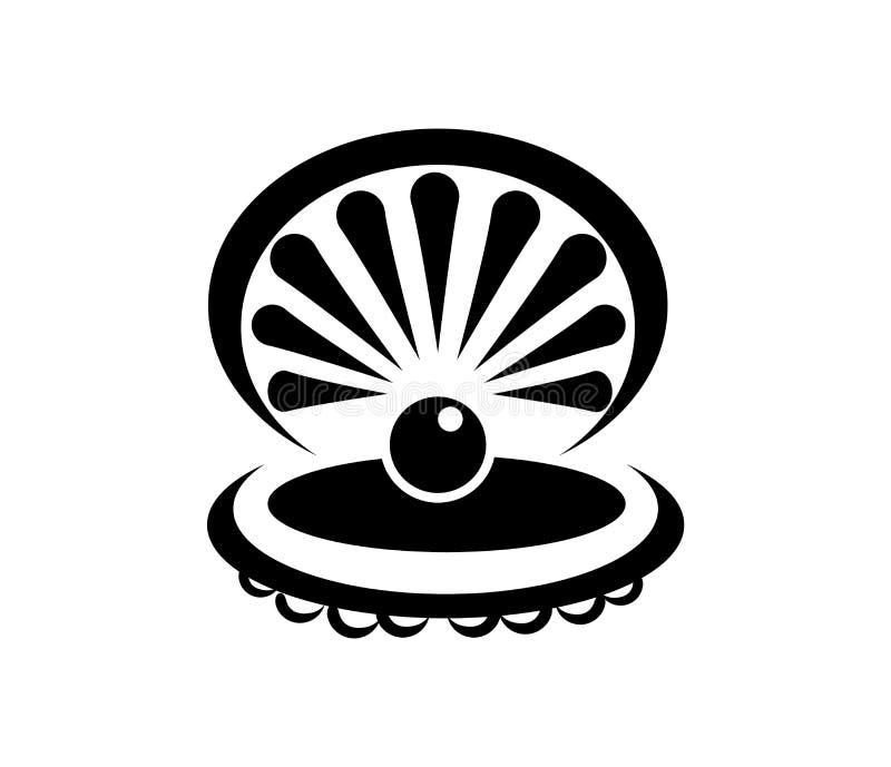 Черная раковина со значком жемчуга изолированным на белой предпосылке иллюстрация штока