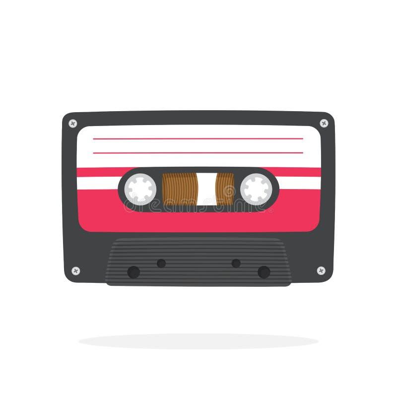 Черная ретро магнитофонная кассета в плоском стиле иллюстрация штока
