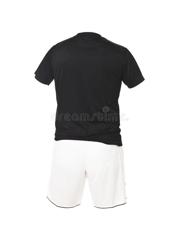 черная рубашка футбола замыкает накоротко белизну стоковое изображение rf