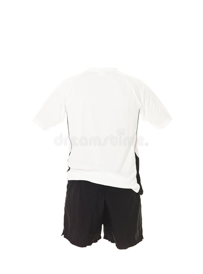 черная рубашка футбола замыкает накоротко белизну стоковое фото rf