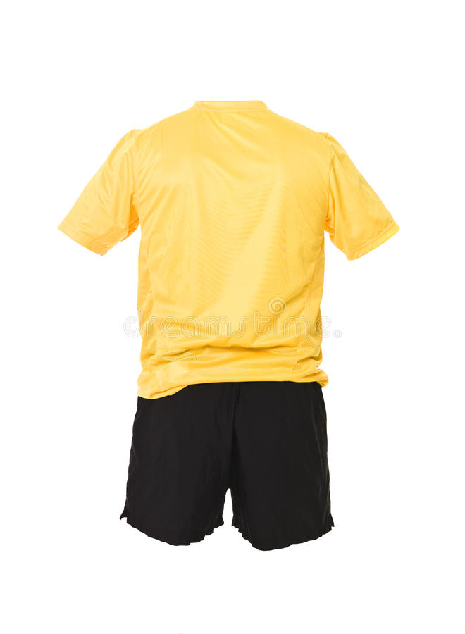 черная рубашка футбола замыкает накоротко желтый цвет стоковая фотография rf