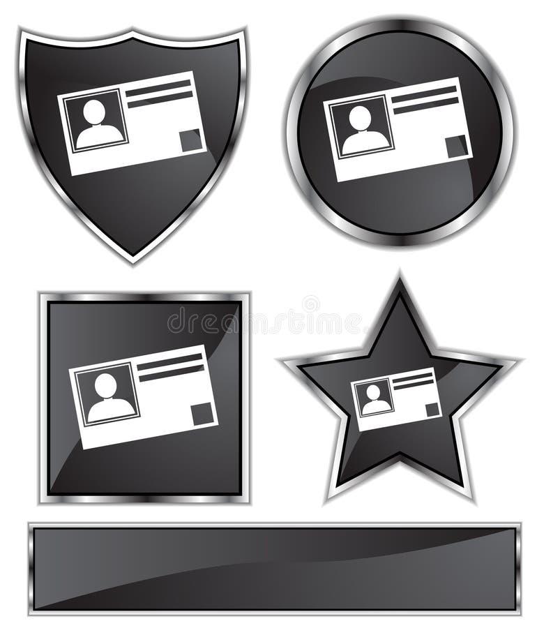 черная сатинировка удостоверения личности карточки иллюстрация вектора