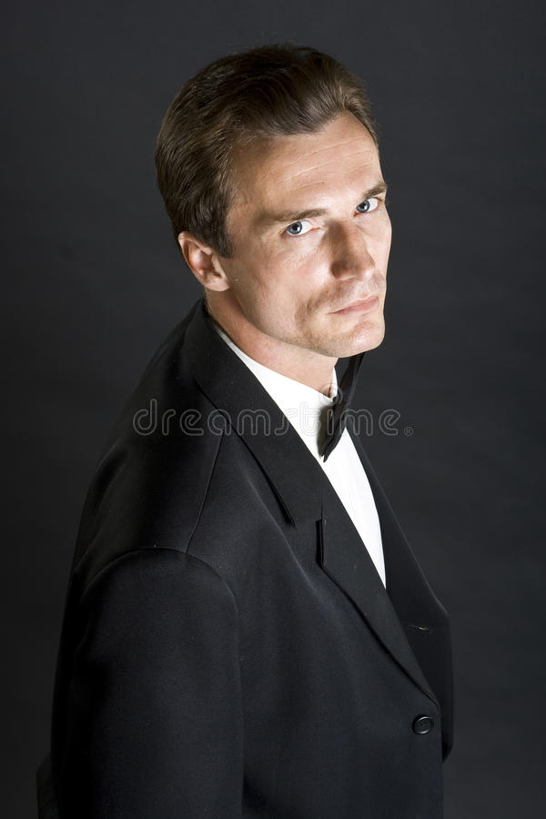 черная связь человека куртки обеда смычка стоковые изображения rf