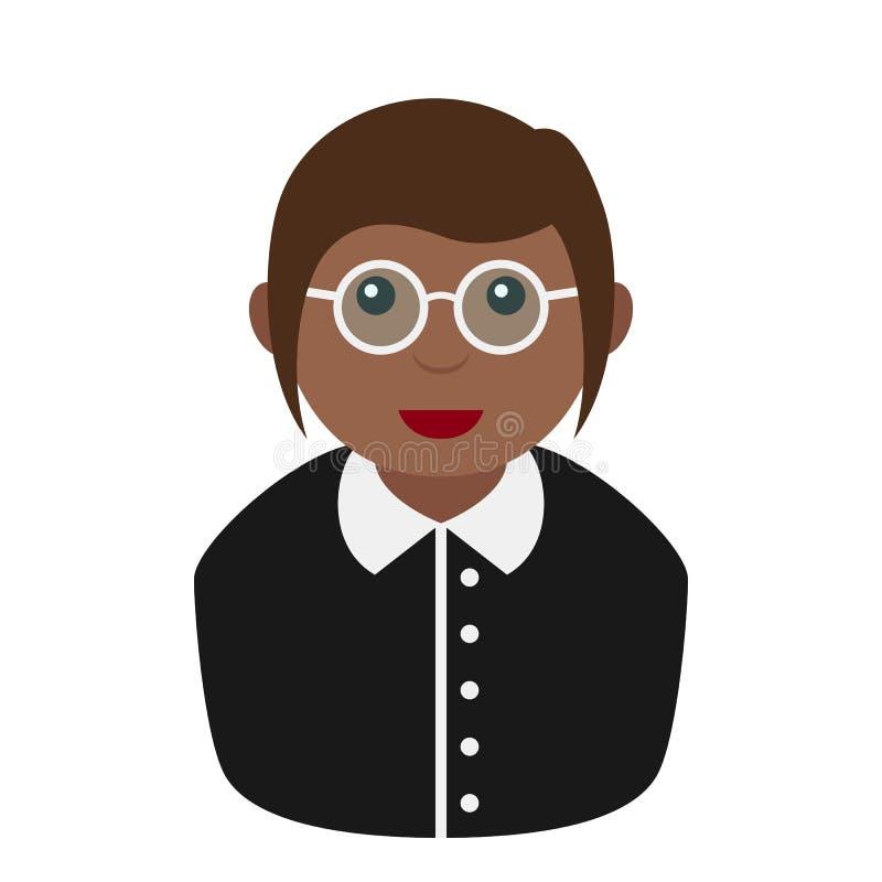 Черная секретарша Женщина Плоск Значок на белизне бесплатная иллюстрация