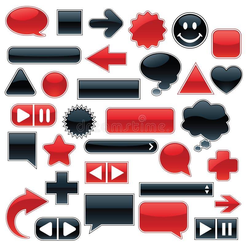 черная сеть красного цвета собрания иллюстрация вектора
