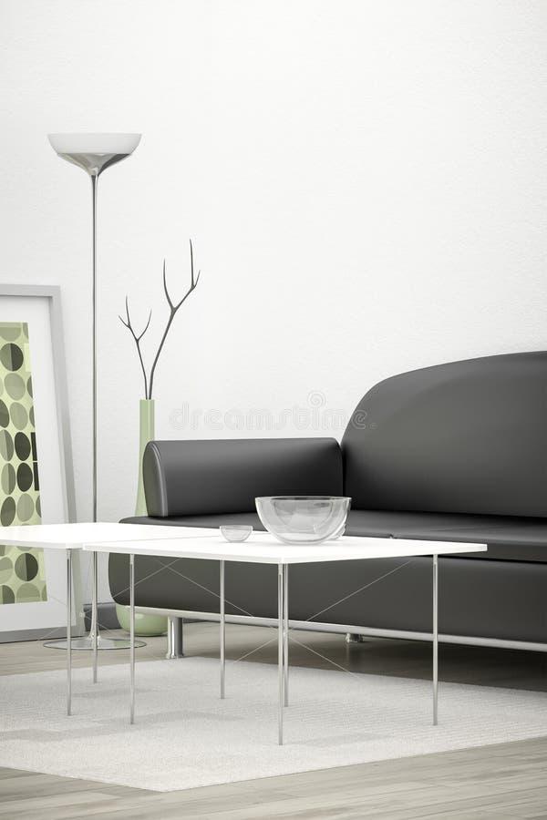 Черная софа в версии вертикали белой комнаты иллюстрация вектора