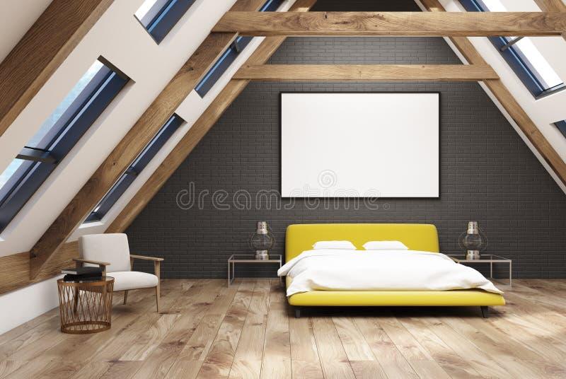 Черная спальня внутренняя, желтая кровать чердака иллюстрация вектора