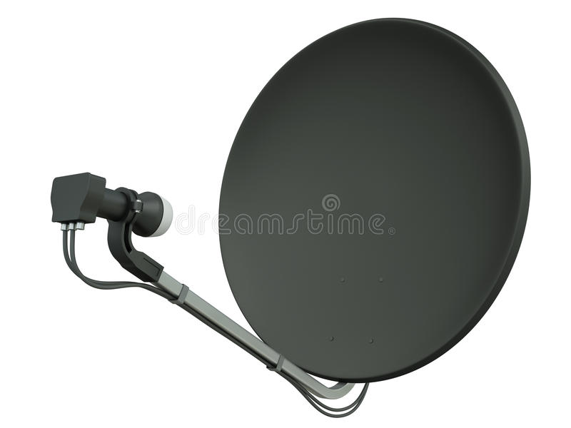 Черная спутниковая антенна-тарелка иллюстрация вектора