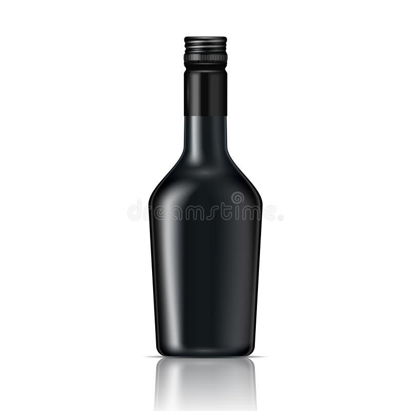 Черная стеклянная бутылка настойки с завинчивой пробкой. иллюстрация штока