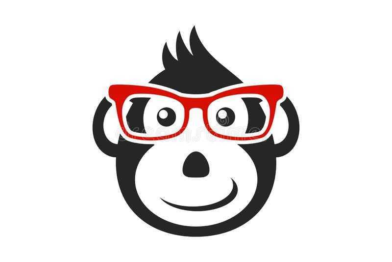 Черная сторона обезьяны мультфильма с красными стеклами изолированными на белой предпосылке бесплатная иллюстрация