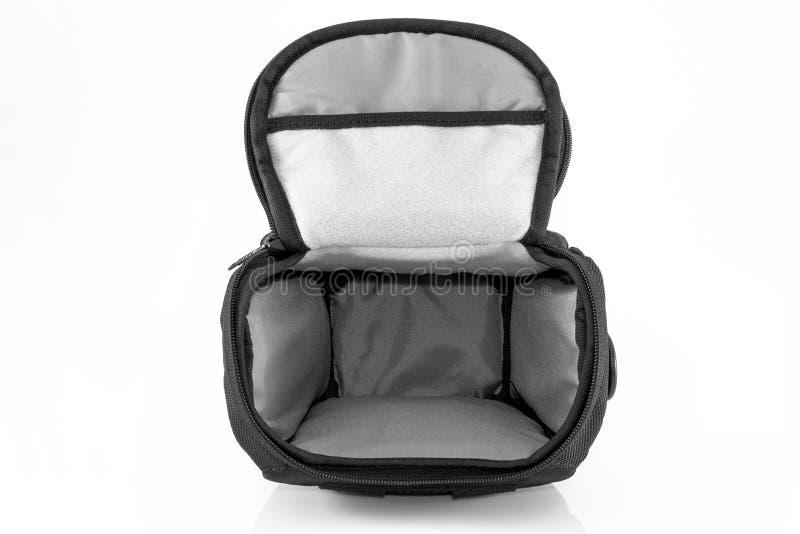 Черная сумка для камеры изолированной на белой предпосылке стоковые изображения