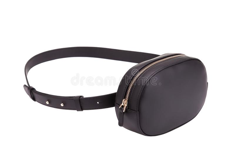Черная сумка кожаного пояса Модная сумка пояса стоковое фото