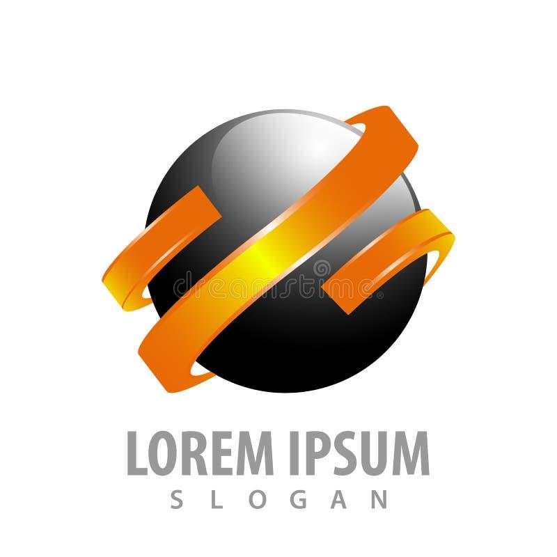 Черная сфера с оранжевым дизайном концепции ленты Вектор элемента шаблона символа графический иллюстрация штока