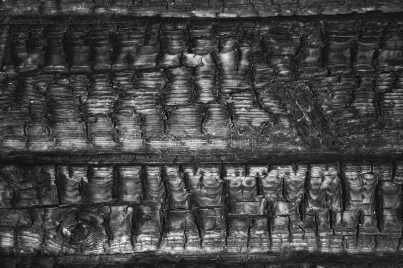 Черная текстура угля, который палят деревянных доск стен дома Загубленное жилищное строительство после огня стоковое изображение rf