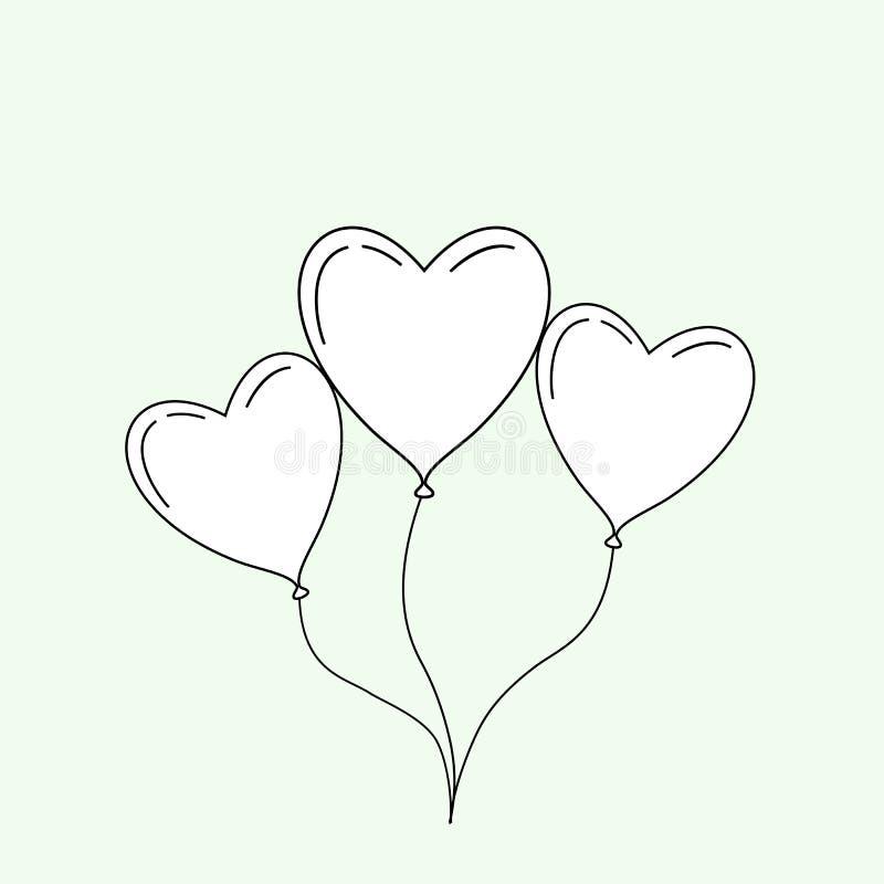 Черная тонкая линия воздушный шар как сердце изолированное на предпосылке дизайн логотипа линейной тенденции стиля современный EP иллюстрация штока
