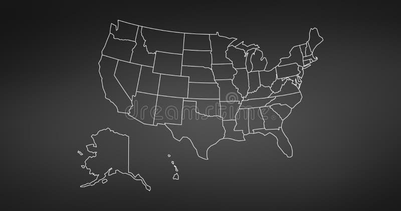 Черная тонкая линия США составляет карту контур элемент образования infographic дизайн стиля хода плоский Иллюстрация вектора изо иллюстрация штока