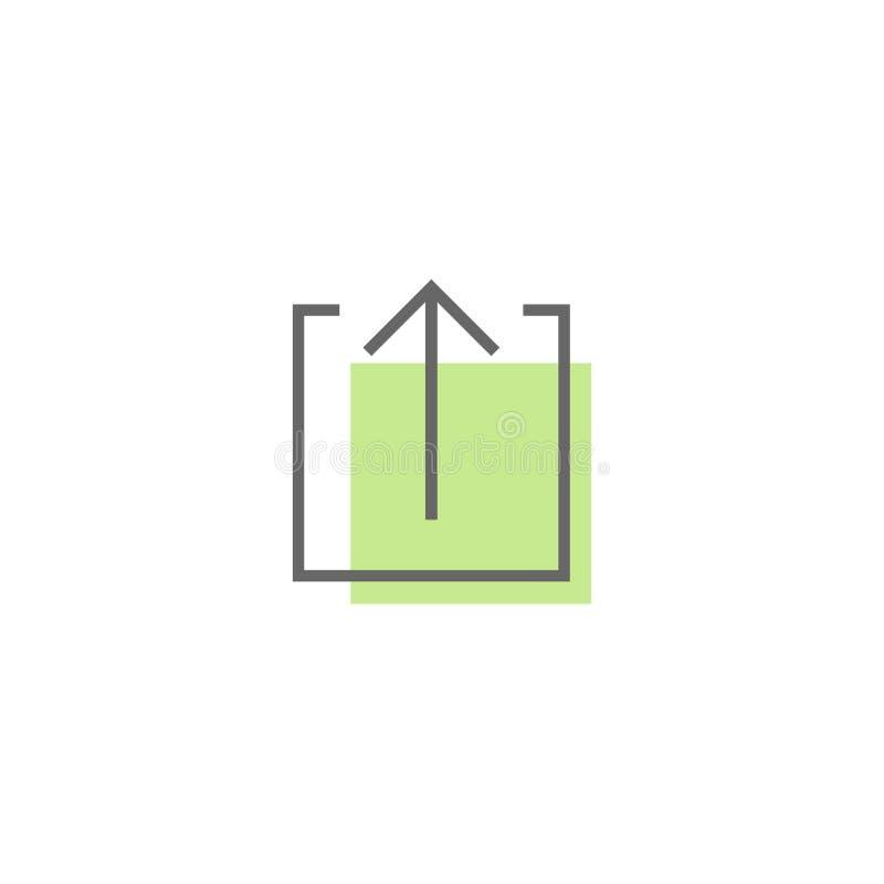 Черная тонкая стрелка вверх в квадрате плана с зеленым пятном Линия значок Изолировано на белизне бесплатная иллюстрация
