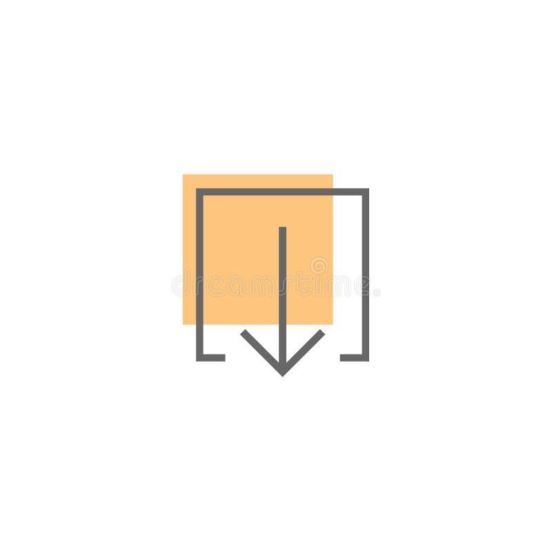 Черная тонкая стрелка вниз в квадрате плана с оранжевым пятном Линия значок Знак загрузки бесплатная иллюстрация