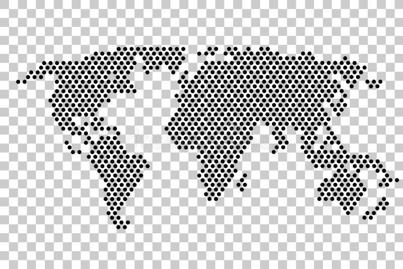 Черная точка, карта мира, на прозрачной предпосылке влияния иллюстрация штока