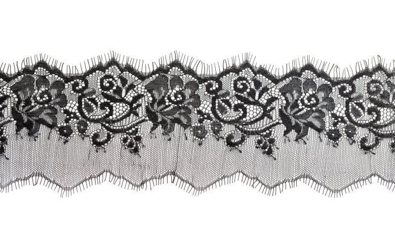 черная точная флористическая текстура шнурка стоковая фотография