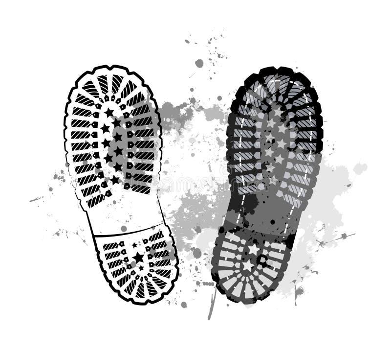 черная тропка ноги иллюстрация вектора