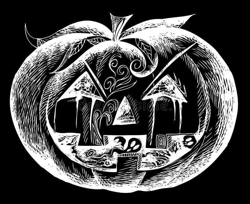 Черная тыква хеллоуина страшная иллюстрация вектора