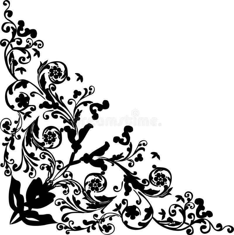 черная флористическая картина trigonal иллюстрация штока