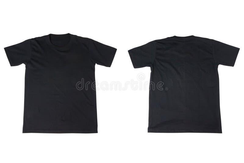 Черная футболка изолированная на белизне стоковые фотографии rf