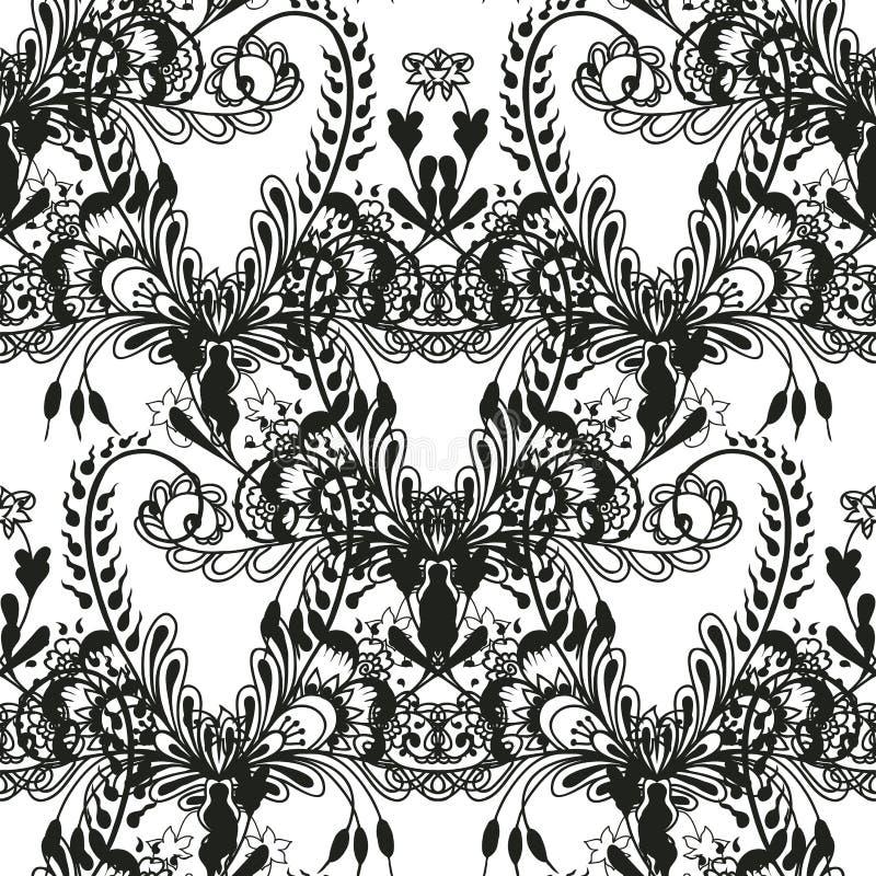 черная флористическая картина безшовная бесплатная иллюстрация