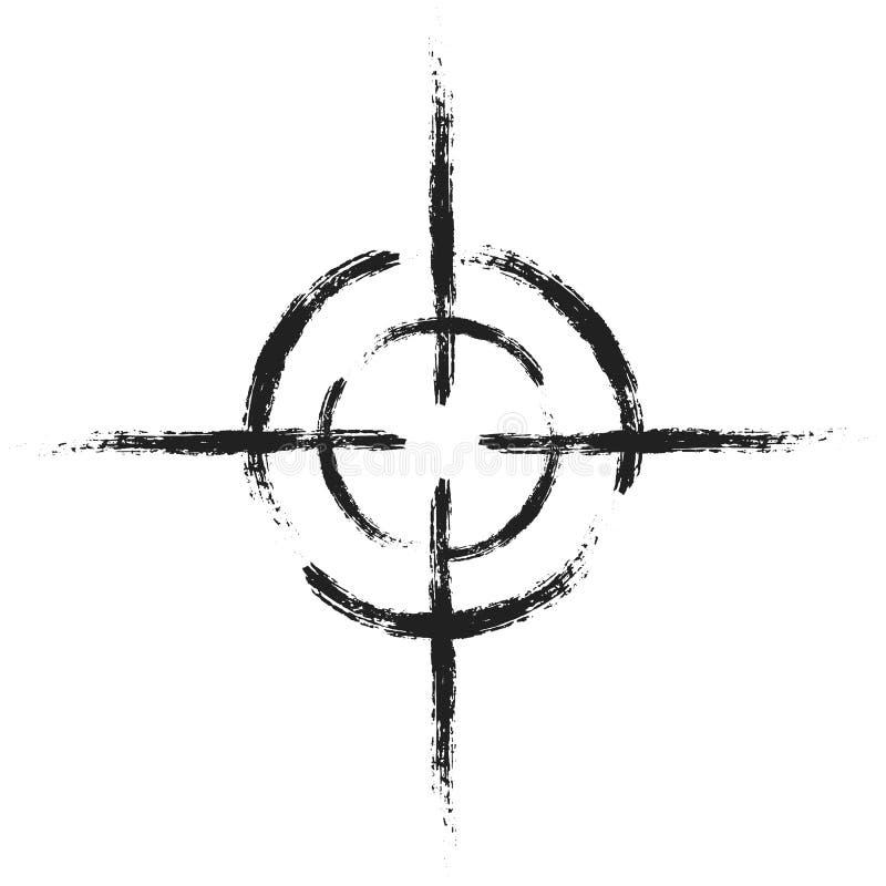 Черная цель на изолированной белой предпосылке Vector элемент, иллюстрация, значок для вашего дизайна иллюстрация вектора