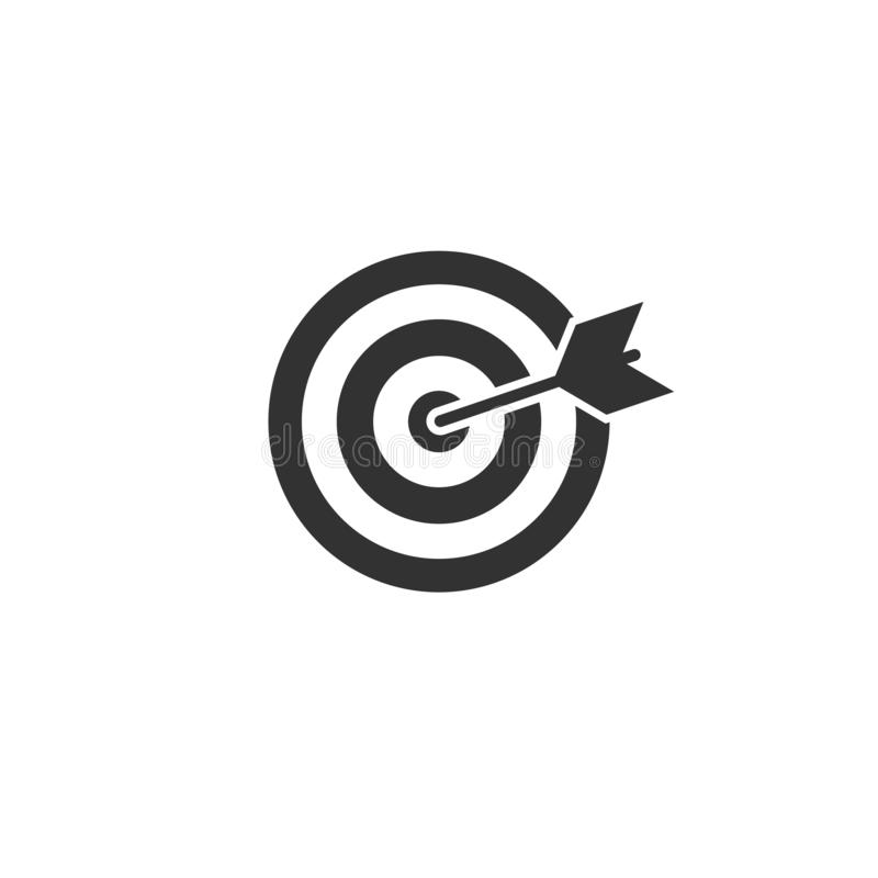 Черная цель archery со значком стрелки изолированным на белой предпосылке Иллюстрация вектора Dartboard иллюстрация вектора