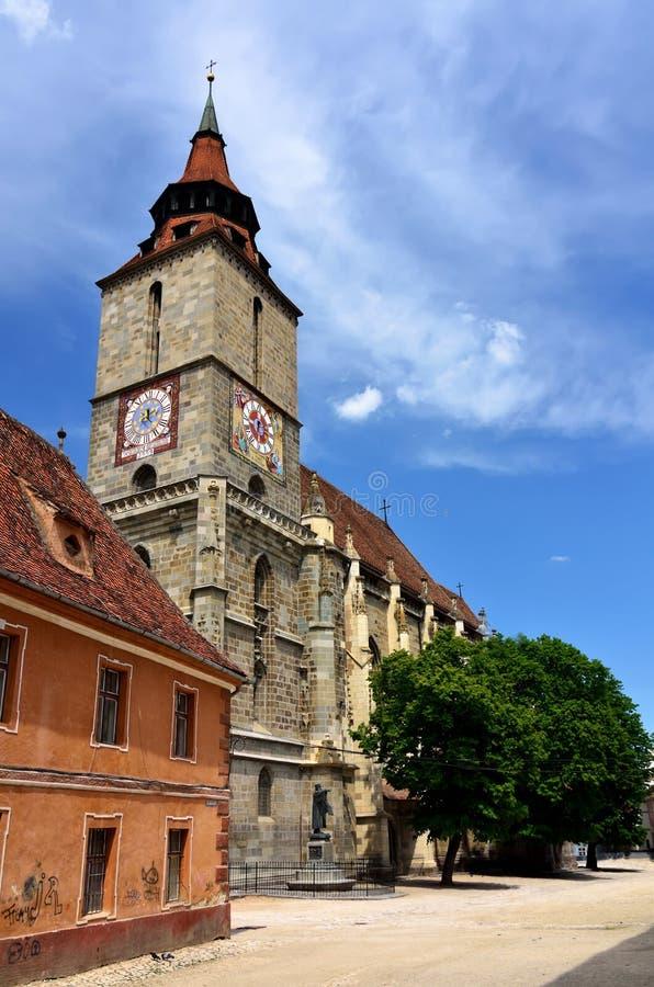 черная церковь Румыния transylvania brasov стоковые изображения rf