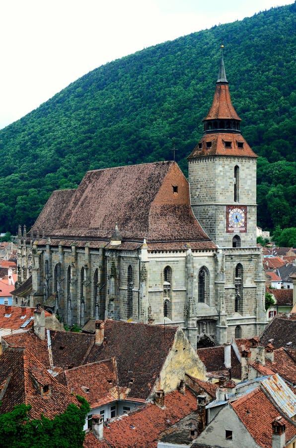 черная церковь Румыния transylvania brasov стоковое изображение